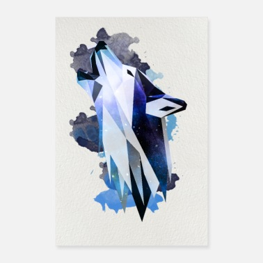 Wolf Wolf Poster Watercolor Low Poly - Poster