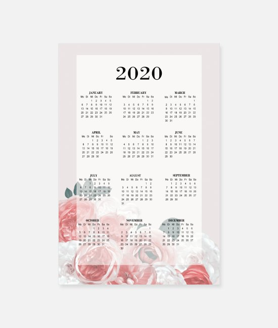 Happy New Year Posters - Flowers Calendar 2 English - Posters white