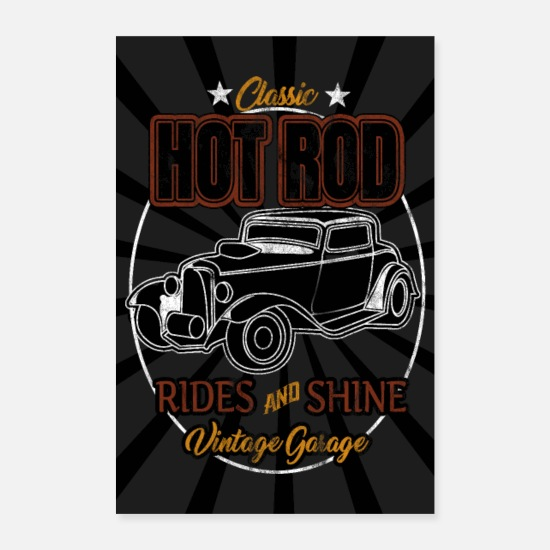 Hot Rod Poster - Classic Hot Rod Rides and Shine - Poster bianco