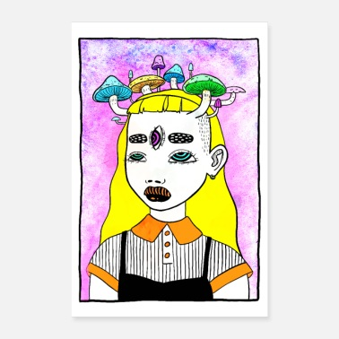 Magic Mushrooms Trippy Magic Mushroom Girl Poster - Poster