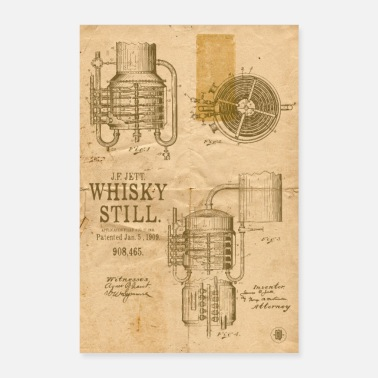 Treatment Whiskey Still Patent - Brown Poster - Poster
