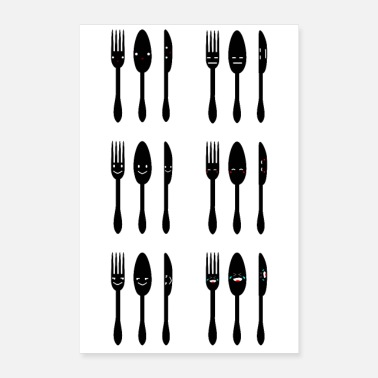 Emotion cutlery emoji group emotions poster - Poster