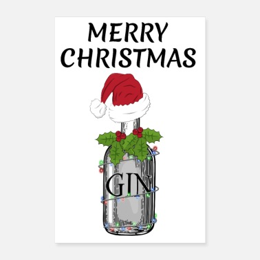 Gag Merry Christmas festive Gin and Tonic bottle gag - Poster