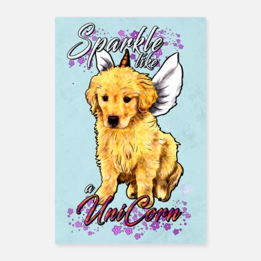Motto Unicorn Golden Retriever - Poster | Grafica Yolo - Poster