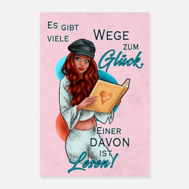 Motto Illustration Frau mit Buch Poster | Yolo-Artwork - Poster
