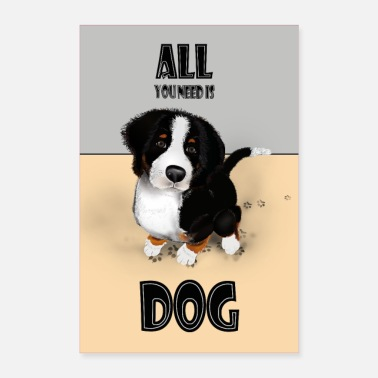 Search Dog Baby Bernese Mountain Dog - Poster