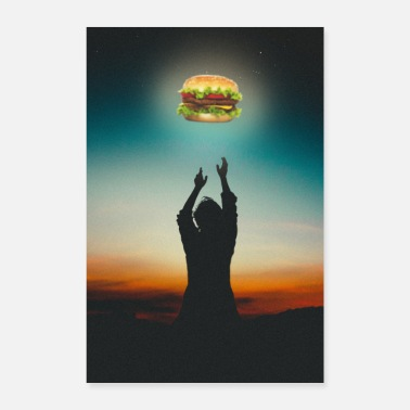 Charcoal Lighter Burger in The Sky - Poster