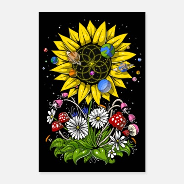 Flowers Psychedelic Sunflower - Poster