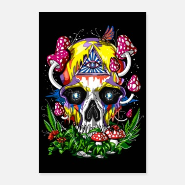 Forest Psychedelic Magic Mushrooms Skull - Poster