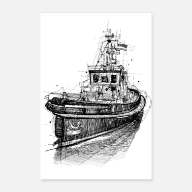 Harbour Cutter drawing full steam - Poster
