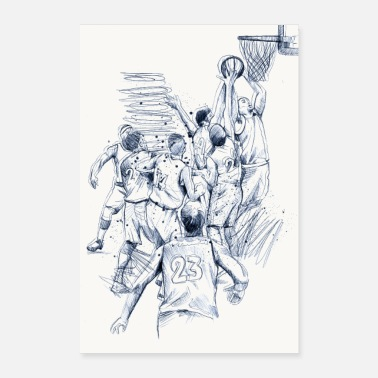Style Basketball game drawing - Poster