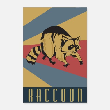Wilderness Raccoon retro raccoon - Poster 24 x 35 (60x90 cm)