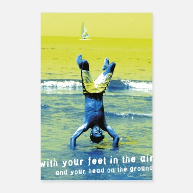 Handstand caribbean handstand sailboat sea beach freedom - Poster