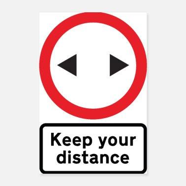 Road Transport Road Sign Social No Distance - Poster