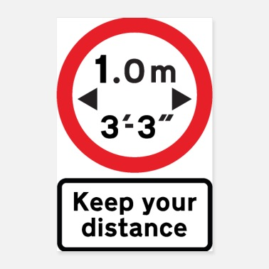 Road Transport Social Distance UK Road Sign - 1 metre - Poster