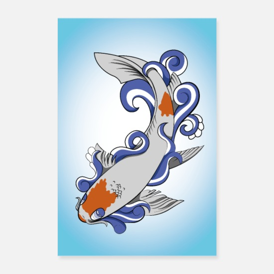 Animaux Posters - koi traditionnel - Posters blanc