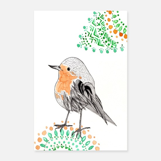 Animaux Posters - Affiche Robins - Posters blanc
