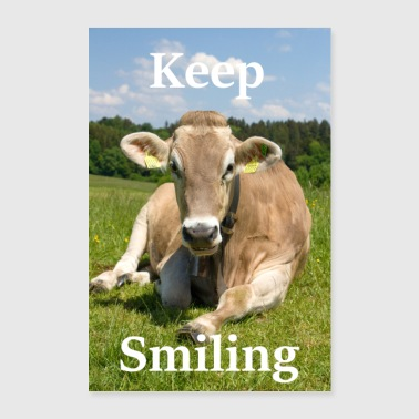 Keep Smiling - Cow - Poster 60x90 cm