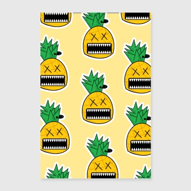 Zombie Ananas Fruit Monster Emo Piercing Poster - Poster 60 x 90 cm
