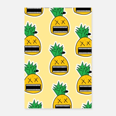 Emo Zombie Ananas Fruit Monster Emo Piercing Poster - Poster 60 x 90 cm