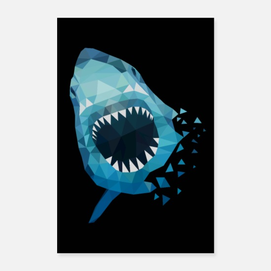 Shark Posters - HAI ATTACKS GIFT ANGLER SEA FISH HAWAII - Posters white