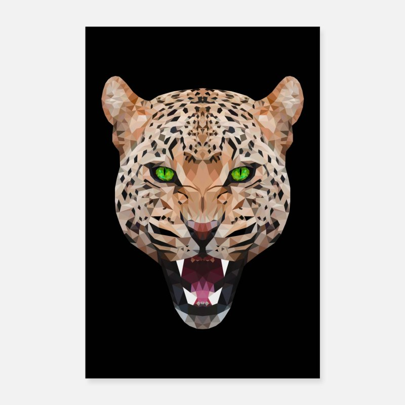 Polygone Posters - CHAT GEPARD LEOPARD CHAT ANIMAL TÊTE CADEAU CHAT - Posters blanc