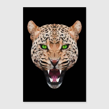 GEPARD LEOPARDO TESTA GATTO CAT DI TESTA ANIMALE GATTO - Poster 60x90 cm