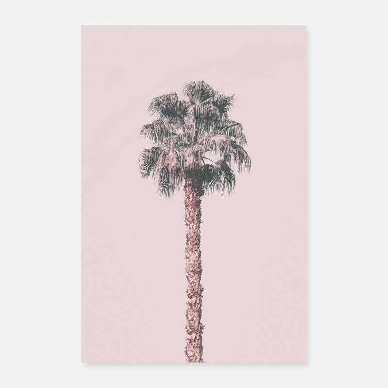 Travel Posters - Pink Palm Tree - Posters white