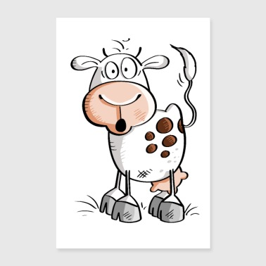Funny cartoon cow - cows - Poster 24 x 35 (60x90 cm)