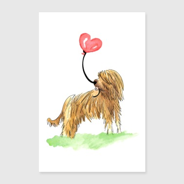Briard with heart balloon poster - Poster 24 x 35 (60x90 cm)
