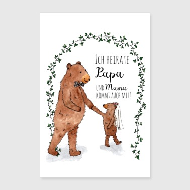 Wedding Little bear wedding poster - Poster 24 x 35 (60x90 cm)