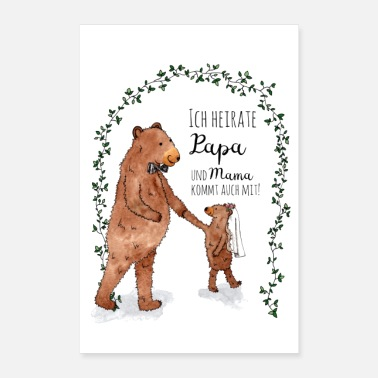 Marry Little bear wedding Family Dad Poster - Poster 24 x 35 (60x90 cm)