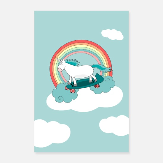 Skateboard Posters - Unicorn Clouds Skateboard Nursery Poster - Posters white