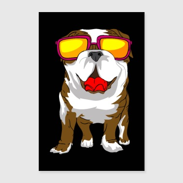 ENGLISH BULLDOG SUNGLASSES GIFT POSTER - Poster 24 x 35 (60x90 cm)