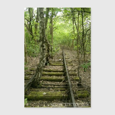 Nature Strikes Back - Overgrowing tracks in the forest - Poster 24 x 35 (60x90 cm)