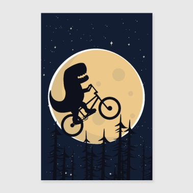 Dino rides a bike in the moonlight - Poster 24 x 35 (60x90 cm)