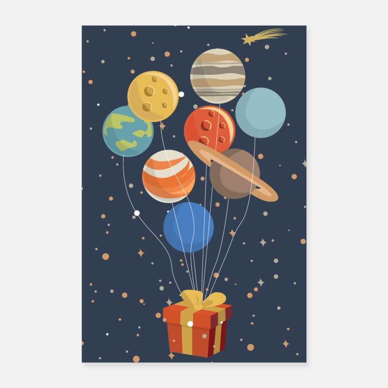 Bestseller Posters - Planets as balloons on a present - Posters white