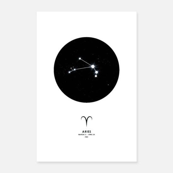 Sterrenbeeld Posters - Aries zodiac poster cadeau wanddecoratie - Posters wit