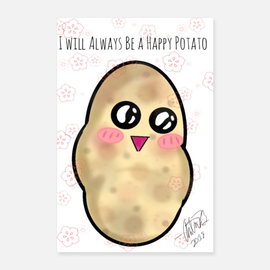 Happy Christmas Posters - Affiche Happy Happy Potato - Posters blanc
