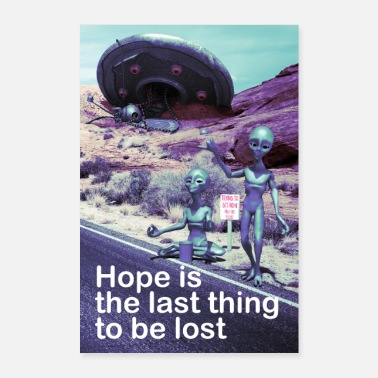Comico crash ufo Humorous aliens gray comic-hitchhiking - Poster 60x90 cm