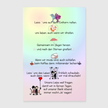 Poster mural love text - Poster 24 x 35 (60x90 cm)