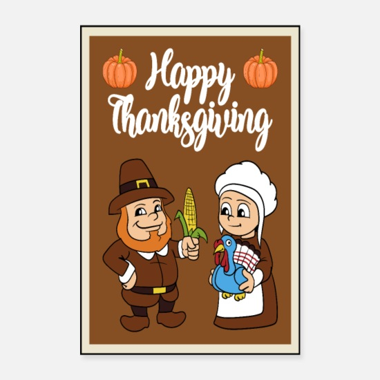 Jul Posters - Thanksgiving Tyrkiet Tyrkiet Thanksgiving - Posters hvid