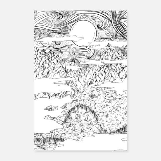 Magic Posters - doodle mountain, natural night scene design - Posters white