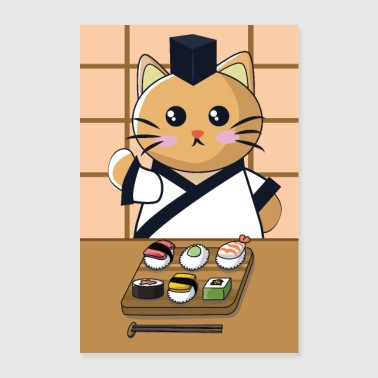 Cat is eating sushi - Poster 24 x 35 (60x90 cm)