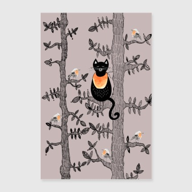 Poster Cat & Robins - Poster 60x90 cm