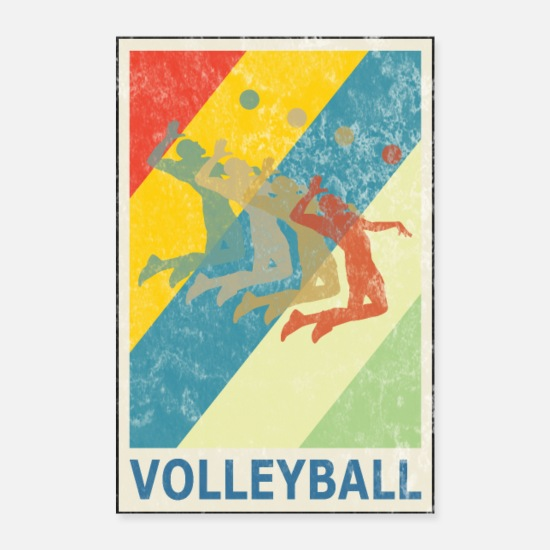 Beach Posters - Retro Vintage Style Beach Volleyball Player - Posters white