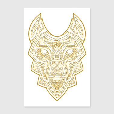 Celtic Wolf guld - Poster 60x90 cm