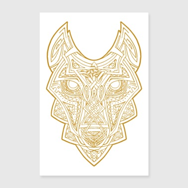 Loup celtique d'or - Poster 60 x 90 cm