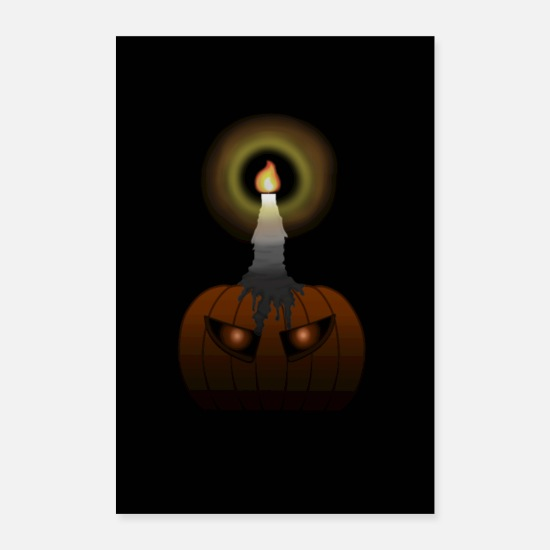 Gift Idea Posters - Spooky Pumpkin with Glowing Aug Poster (Halloween) - Posters white