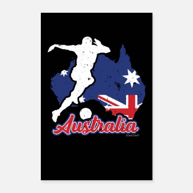 Australia countries flag football flag gift - Poster 24 x 35 (60x90 cm)